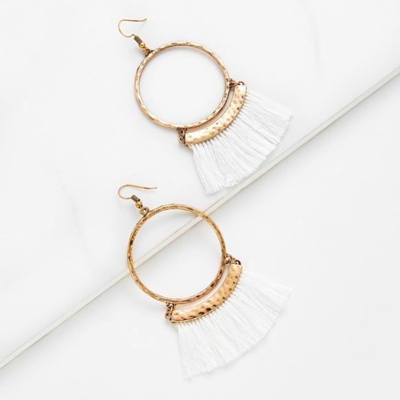 84efaf0227 SHEIN Jewelry | Nwt White Tassel Hoop Earrings | Poshmark